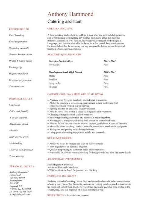 Assistant Kitchen Manager Resume by Catering Assistant Cv Sle Kitchen Catering Environment