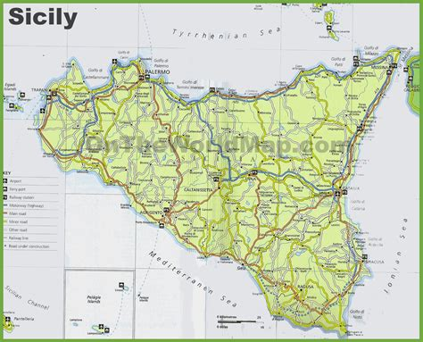 sicily on map sicily road map