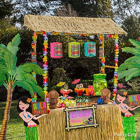 hawaiian table decorations ideas raffia tiki bar idea luau raffia decorating ideas luau
