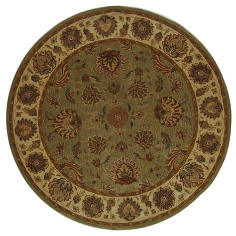 Safavieh Heritage Green Gold 8 Ft X 8 Ft Round Area Rug 8ft Rugs