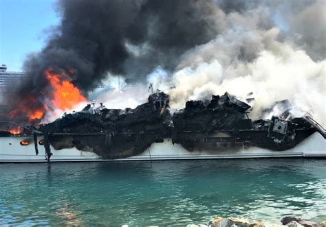 yacht haven grande yacht called positive energy burns to ashes at yacht