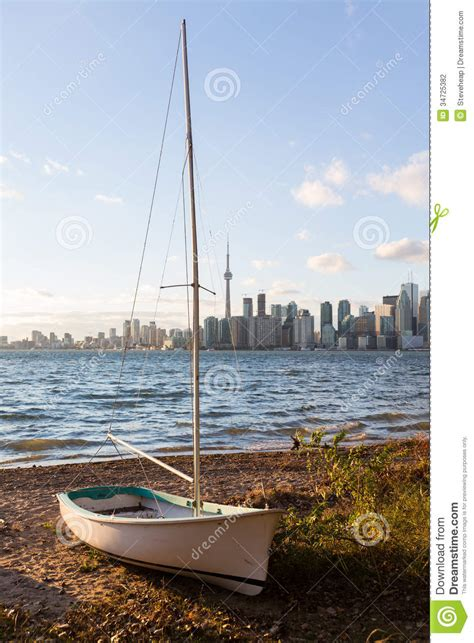 boat prices toronto sailing boat on toronto islands with city stock photo