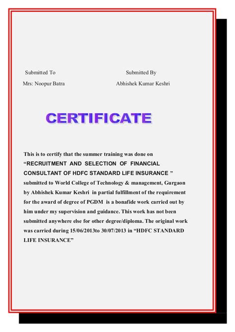 Mba Project Hdfc Standard Insurance by Hdfc Standard Insurance Project Report
