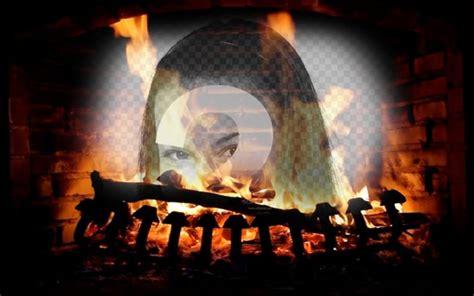 camino con fuoco fotomontaggio con limmagine di un camino con fuoco acceso