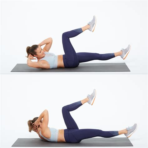 bicycle crunch waist exercises popsugar fitness photo