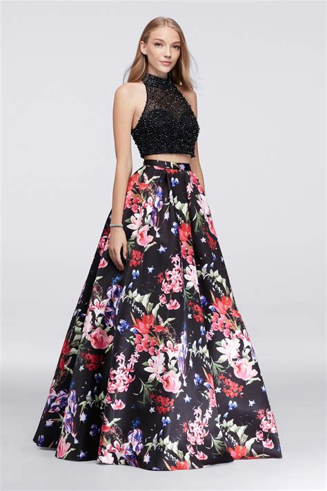 Flowery Dress By Delima Style fancy two pieces floral skirt and beaded top prom gowns style db55 caddb55 259 95 ca