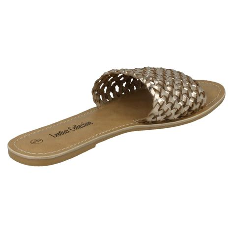 mule type sandals leather collection style 073 flat weave mule