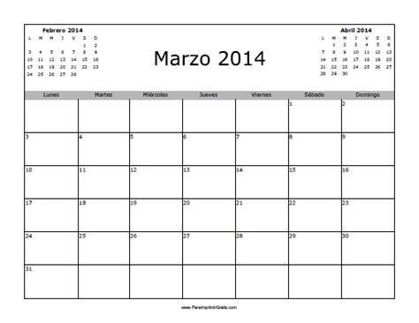 Calendario Marzo 2014 Calendario Marzo 2014 En Blanco Para Imprimir Gratis