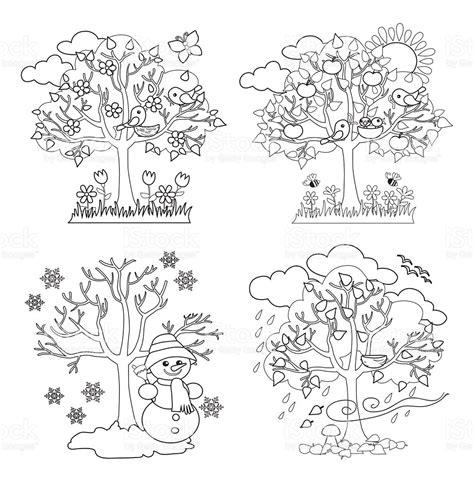 clipart alberi four seasons alberi da colorare illustrazione vettoriale