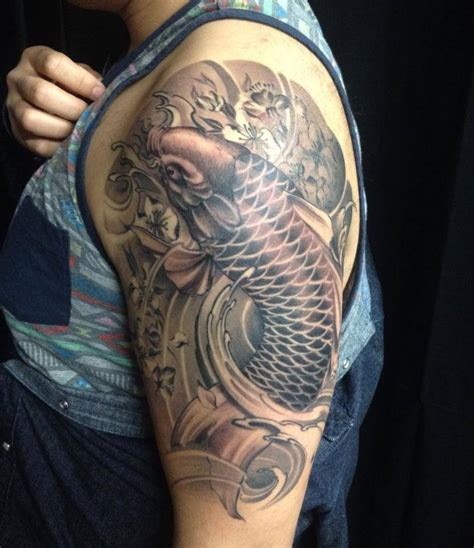 black fish tattoo koi fish sleeve black and grey