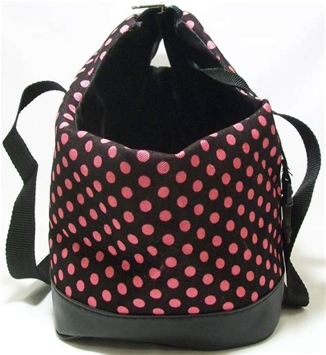 shih tzu carrier tote carrier purse bag pink polka dot soft sided small teacup