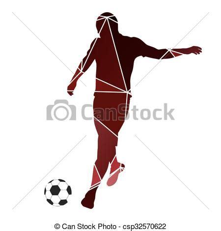 vector illustration of soccer player kicking ball. red