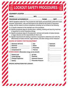 Lock Out Tag Out Procedures Template by Lockout Safety Procedure Forms