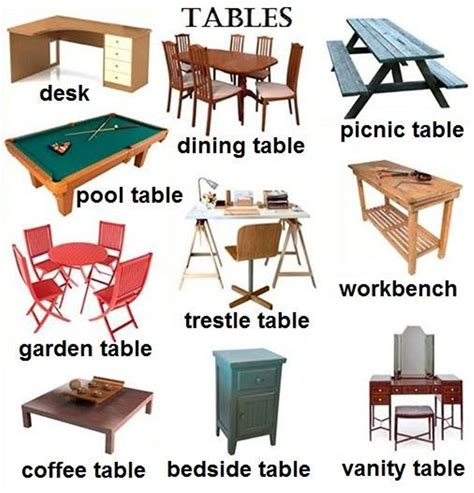 8 Seat Dining Room Table Quot Furniture Quot Vocabulary 250 Items Illustrated Esl Buzz