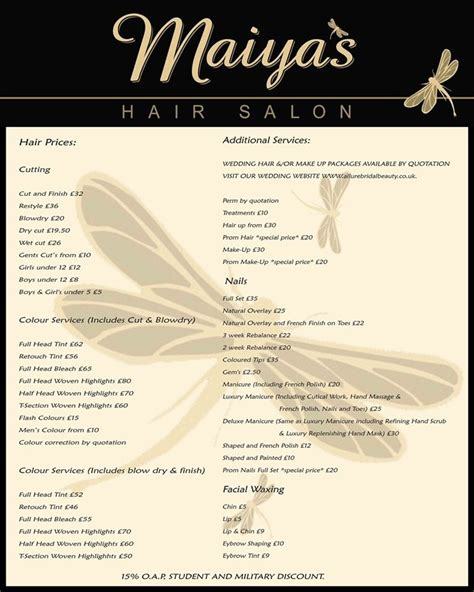 salon price list templates 42 best salon pricing images on
