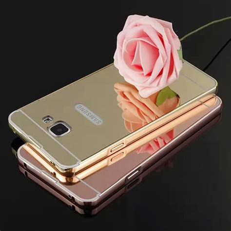 Murah Mirror Samsung J7 Alumunium Bumper Backcase luxury metal aluminum bumper for samsung galaxy j7 prime plating mirror acrylic back