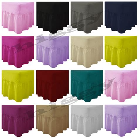 double bed sheets plain dyed fitted valance sheet poly cotton bed sheet single double king s king ebay