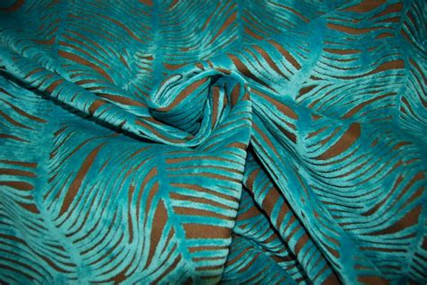 peacock upholstery fabric peacock plume luxurious cut velvet turquoise blue heavy
