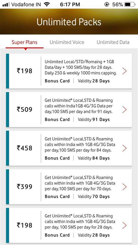 vodafone mobile plans prepaid unlimited vodafone prepaid plans list recharge packs