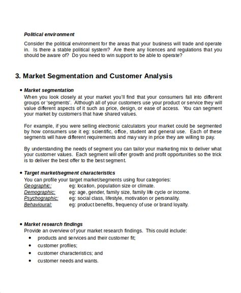 market analysis template business plan customer analysis templates 9 free word pdf document