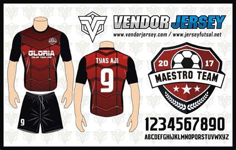 desain jersey merah hitam pembuatan kostum futsal tim maestro motif digital printing