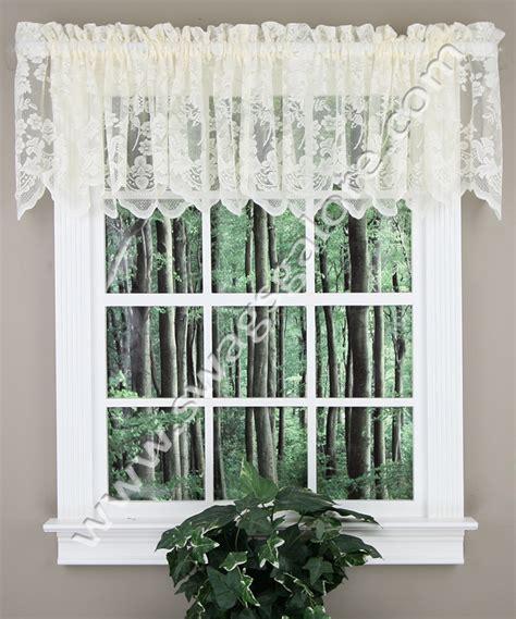 lace curtains swags galore curtains floral vine lace valance ivory lhf kitchen valances
