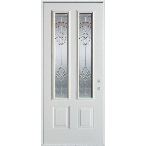 Prefinished White Interior Doors Stanley Doors 36 In X 80 In Traditional Brass 2 Lite 2 Panel Prefinished White Left