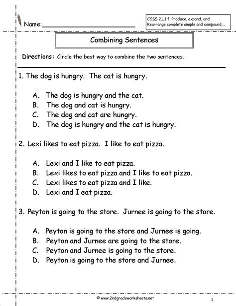 Combining Sentences Worksheet by Second Grade Sentences Worksheets Ccss 2 L 1 F Worksheets