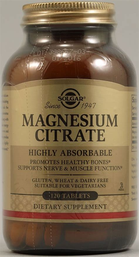 Magnesium Citrate Also Search For Solgar Magnesium Citrate 120 Tablets