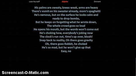 eminem lose yourself lyrics eminem lose yourself lyrics youtube