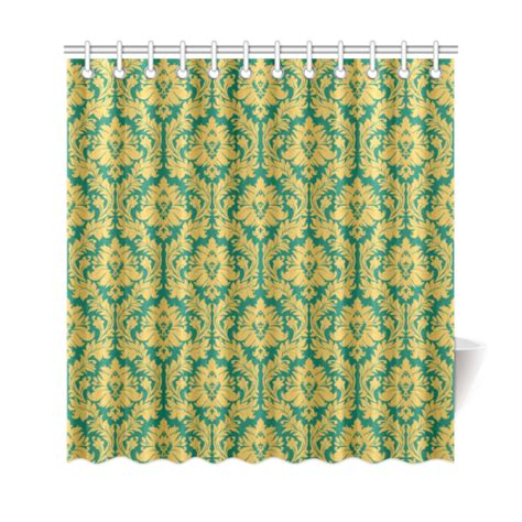 mustard shower curtain autumn fall green mustard yellow damask shower curtain 69