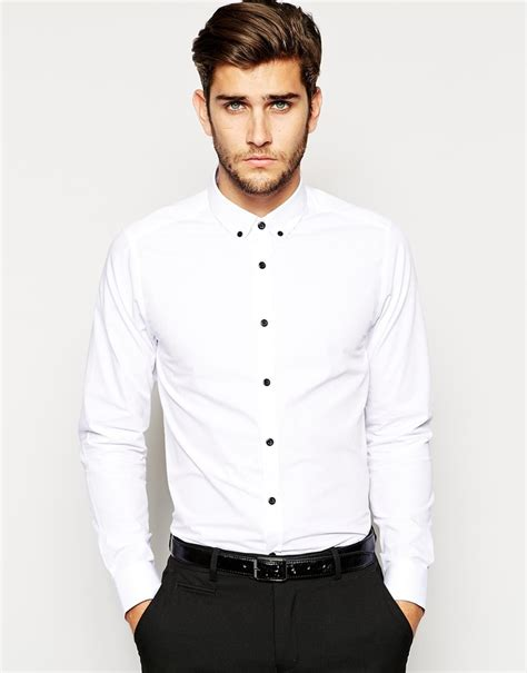 Black Dress Shirt Button Collar white shirt black buttons artee shirt