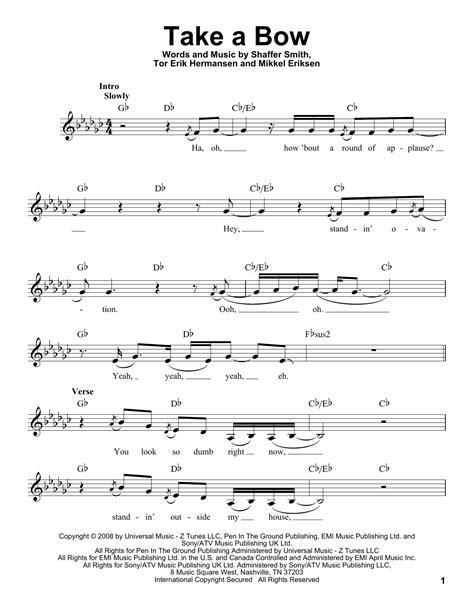 Rihanna - Take A Bow sheet music