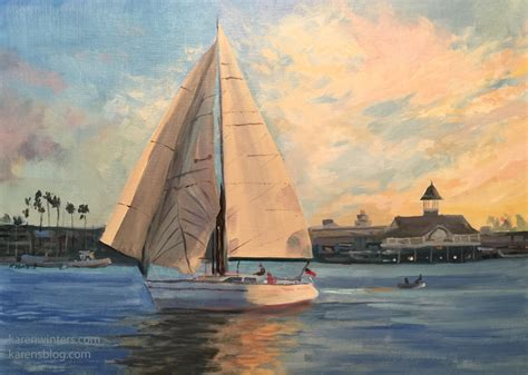 newport beach sailboat sunset seascape oil painting - Sailboats Newport Beach