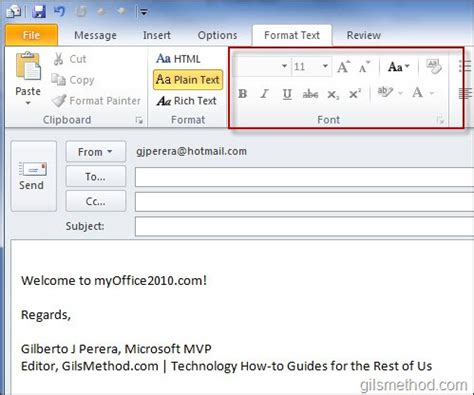 text email template how to change the default email format in outlook 2010