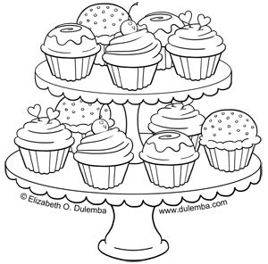 coloring pages of cakes and cupcakes dulemba coloring page tuesday tier of cupcakes