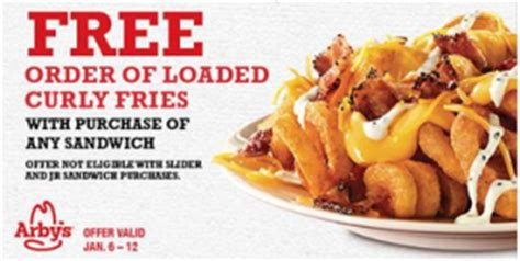 Arbys Gift Card Balance - arby s printable coupon free loaded fries w purchase bargain believer