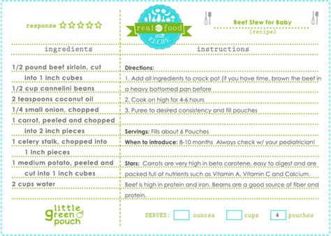 printable recipes for baby food beef stew for baby little green pouch