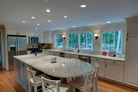 round kitchen island with seating from the rounded end of the island great seating area