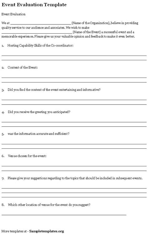 Event Feedback Form Template Word