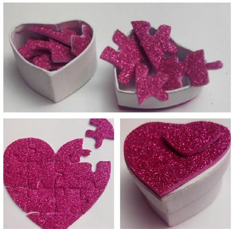 como hacer manualidades de san valentin 15 manualidades caja sorpresa para san valentin puzzle de coraz 243 n con