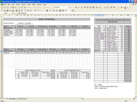 Excel Spreadsheet Template For Scheduling by Employee Schedule Excel Spreadsheet Laobingkaisuo
