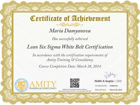 lean six sigma white belt certificate