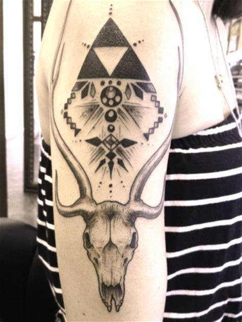 tattoo geometric skull deer skull geometry arm tattoos alternate ego pinterest