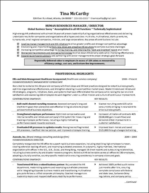 Human Resources Resume by Powerful Human Resources Resume Exle