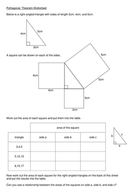 The Pythagorean Theorem Worksheet by Pythagoras Theorem Worksheet By Kmbheck Teaching