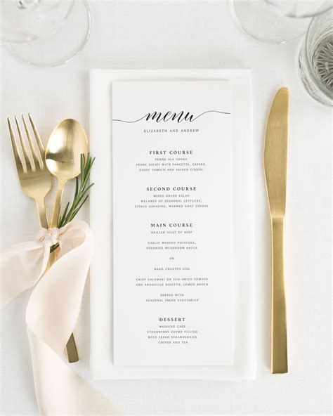elegant dinner party menu ideas elegant romance wedding menus wedding menus by shine