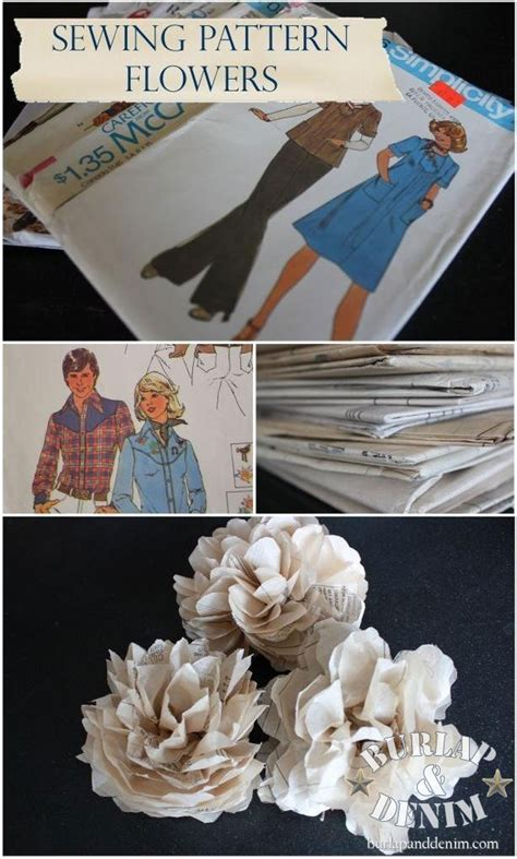 sewing pattern paper flowers tissue paper flowers from sewing patternsburlap denim