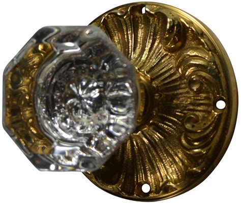 Romanesque Octagon Glass Door Knob Polished Brass Finish Octagonal Glass Door Knobs