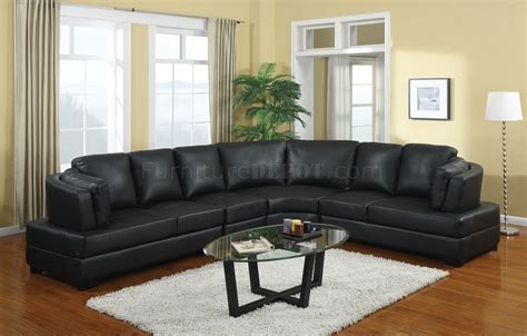 sectional sofas black 503106 landen sectional sofa in black bonded leather by